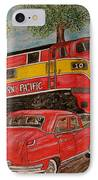 Southern Pacific Train 1951 Kaiser Frazer Car Rr Crossing IPhone Case