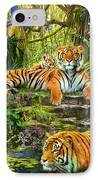 Tiger Family At The Pool IPhone Case