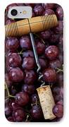 Corkscrew And Wine Cork On Red Grapes IPhone Case