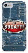 Bugatti 3 D Badge Over Bugatti Veyron Grand Sport Blueprint  IPhone Case