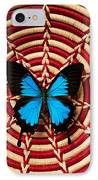 Blue Black Butterfly In Basket IPhone Case