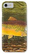 Brown Trout Fish Art Print Touch Down Brown Trophy Size Football Shape Brown Trout Angler Angling IPhone Case