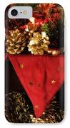 Christmas Decorations Of Garlands And Pine Cones IPhone Case