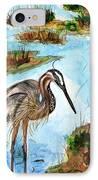 Crane In Florida Swamp IPhone Case