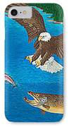 Eagle Trophy Brown Trout Rainbow Trout Art Print Blue Mountain Lake Artwork Giclee Birds Wildlife IPhone Case