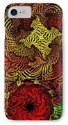 Fantasy Flowers Woodcut IPhone Case
