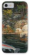 Fish Art Jumping Silver Steelhead Trout Art Nature Artwork Giclee Wildlife Underwater Wall Art Work IPhone Case