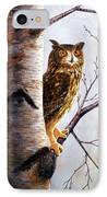 Great Horned Owl In Birch IPhone Case
