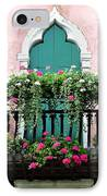 Green Ornate Door With Geraniums IPhone Case
