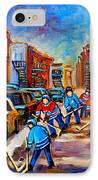Hotel De Ville Montreal Hockey Street Scene IPhone Case