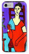 Lady In Red With Fan IPhone Case