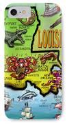 Louisiana Cartoon Map IPhone Case
