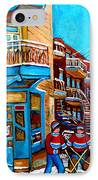 Montreal City Scene Hockey At Wilenskys IPhone Case