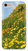 Poppies Hillside Meadow 17 Blue Sky White Clouds Giclee Art Prints Baslee Troutman IPhone Case