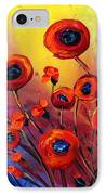 Red Poppies In Rain IPhone Case