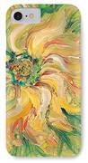Textured Green Sunflower IPhone Case