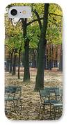 Trees And Empty Chairs In Autumn IPhone Case