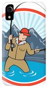 Fly Fisherman Catching Trout Fish Cartoon IPhone XR Case by Aloysius Patrimonio
