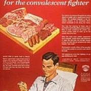 1940s Usa Convalescents Meat Eating Poster by The Advertising Archives