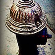 Antique Fire Hydrant - Blue Tones Poster
