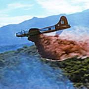 B-17 Air Tanker Dropping Fire Retardant Poster