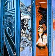 Bluesy Skateboard Art Poster