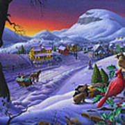 Christmas Sleigh Ride Winter Landscape Oil Painting - Cardinals Country Farm - Small Town Folk Art Poster