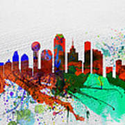 Dallas Watercolor Skyline Poster