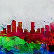 Denver Watercolor Skyline Poster