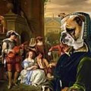 English Bulldog Art Canvas Print - The Garden Party Poster