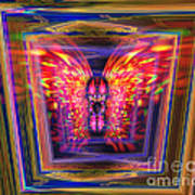 Flaming Butterfly Mixed Media Painting Poster
