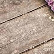 Flower Frame On On Wood Background Poster