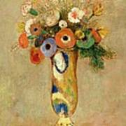 Flowers In A Painted Vase Poster by Odilon Redon