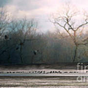 Flying Geese Surrealism Poster