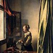 Girl Reading A Letter By An Open Window Poster by Johannes Vermeer