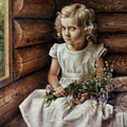 Girl With Wild Flowers Poster