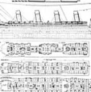 Inquiry Into The Loss Of The Titanic Cross Sections Of The Ship  Poster