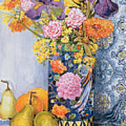 Iris And Pinks In A Japanese Vase With Pears Poster