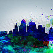 Kansas City Watercolor Skyline Poster