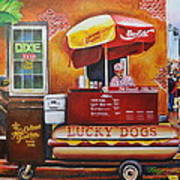 Lucky Dog Man In The Quarter Poster by Terry J Marks Sr