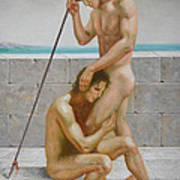 Original Man Body Oil Painting  Gay Art -two Male Nude By The Sea Poster