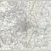 Map Of London And Environs Poster