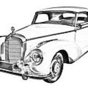 Mercedes Benz 300 Luxury Car Drawing Poster