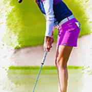 Paula Creamer Putts The Ball On The Fourth Green Poster