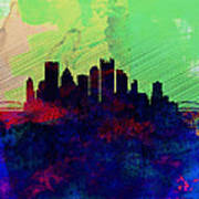 Pittsburgh Watercolor Skyline Poster