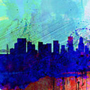 Portland Watercolor Skyline Poster