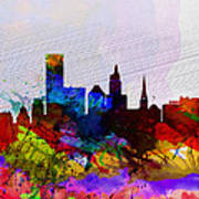 Providence Watercolor Skyline Poster