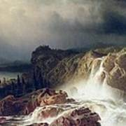 Rocky Landscape With Waterfall In Smaland Poster by Marcus Larson