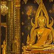 The Main Hall Of Wat Thardtong With Golden Buddha Statue Poster