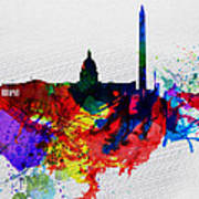 Washington Dc Watercolor Skyline 1 Poster by Naxart Studio